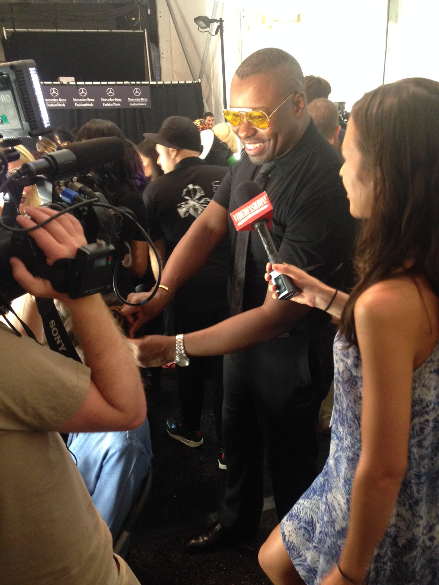Ted Gibson gives an interview at New York Fashion Week