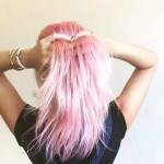 Beauty editor Rachel Adler with pink hair