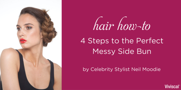 Hair How to 4 Steps to messy Side bun by Neil Moodie