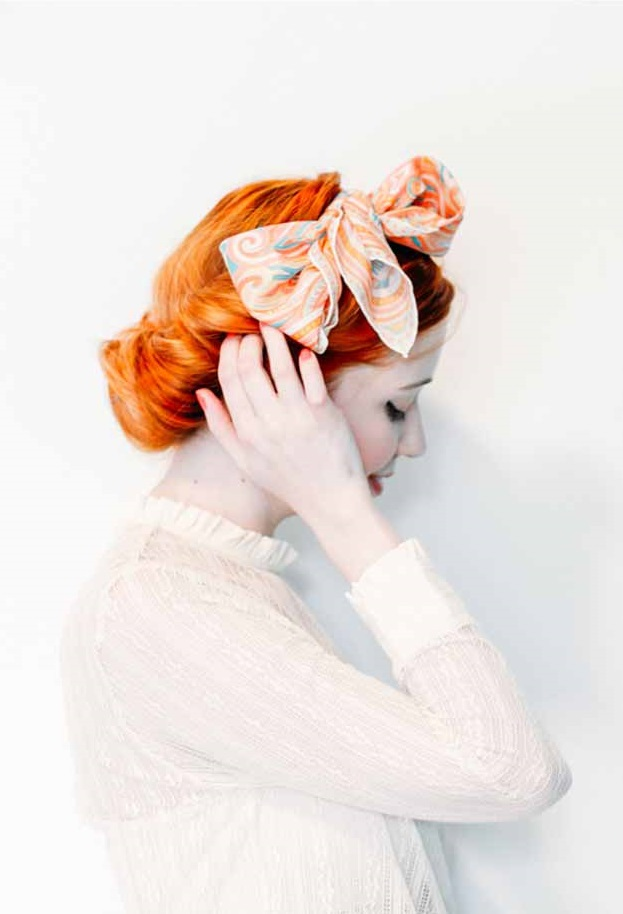 Cute Hairstyles With Scarf Retro Rolled Updo With A Vintage Scarf