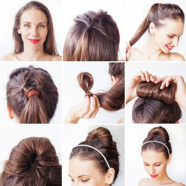 how to hair tutorial woman topknot updo headband best simple hairstyles long hair viviscal blog