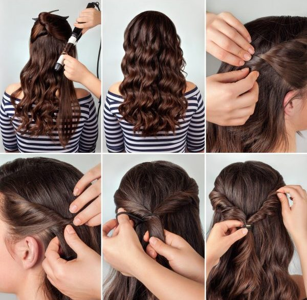brunette woman half up twist best formal hairstyles viviscal blog
