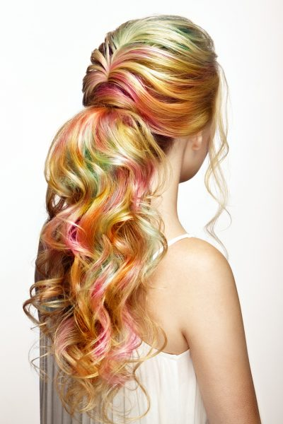 curly multicolored blonde long hair back temporary hair color viviscal hair blog