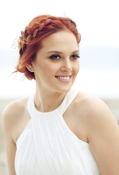 Braid headband hairstyle smiling redhead woman white dress our favorite heatless hairstyles viviscal hair blog