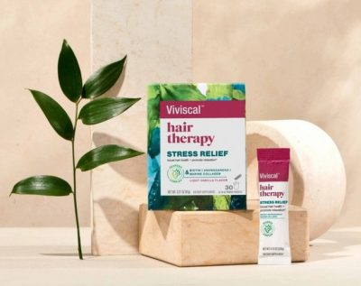 Viviscal Hair Therapy Stress Relief product shots with individual sachet